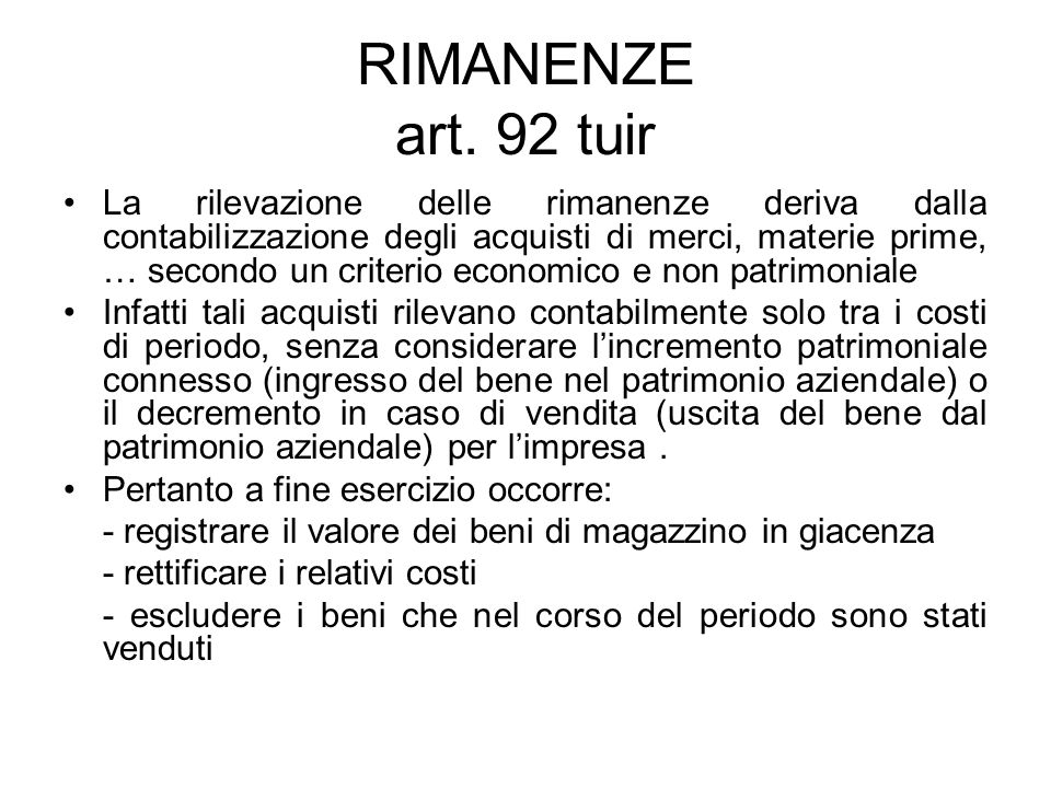 RIMANENZE art. 92 tuir