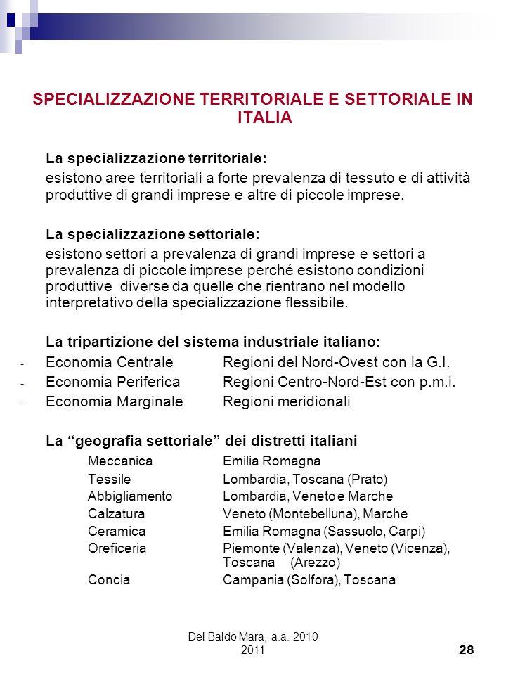 SPECIALIZZAZIONE TERRITORIALE E SETTORIALE IN ITALIA