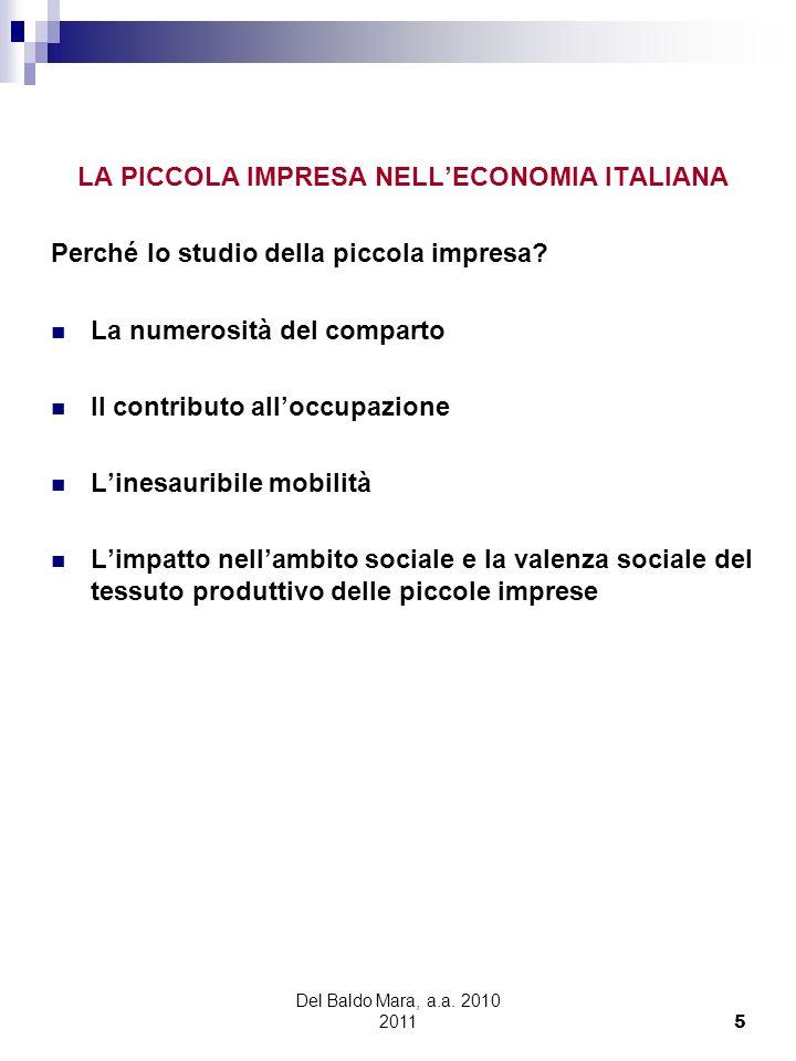 LA PICCOLA IMPRESA NELL'ECONOMIA ITALIANA