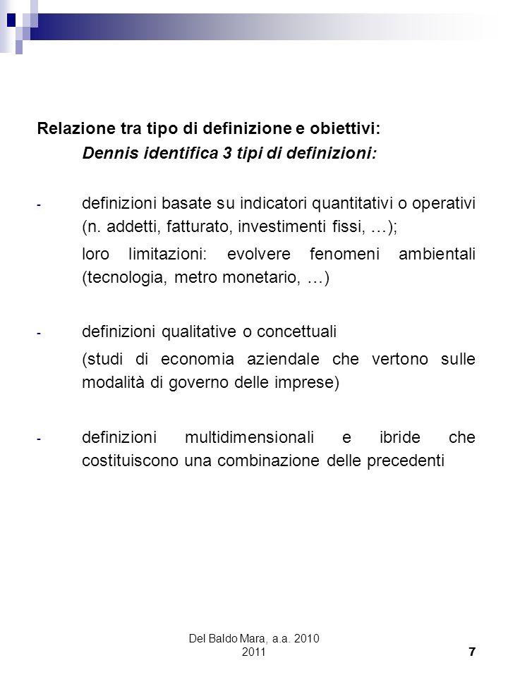 Relazione tra tipo di definizione e obiettivi: