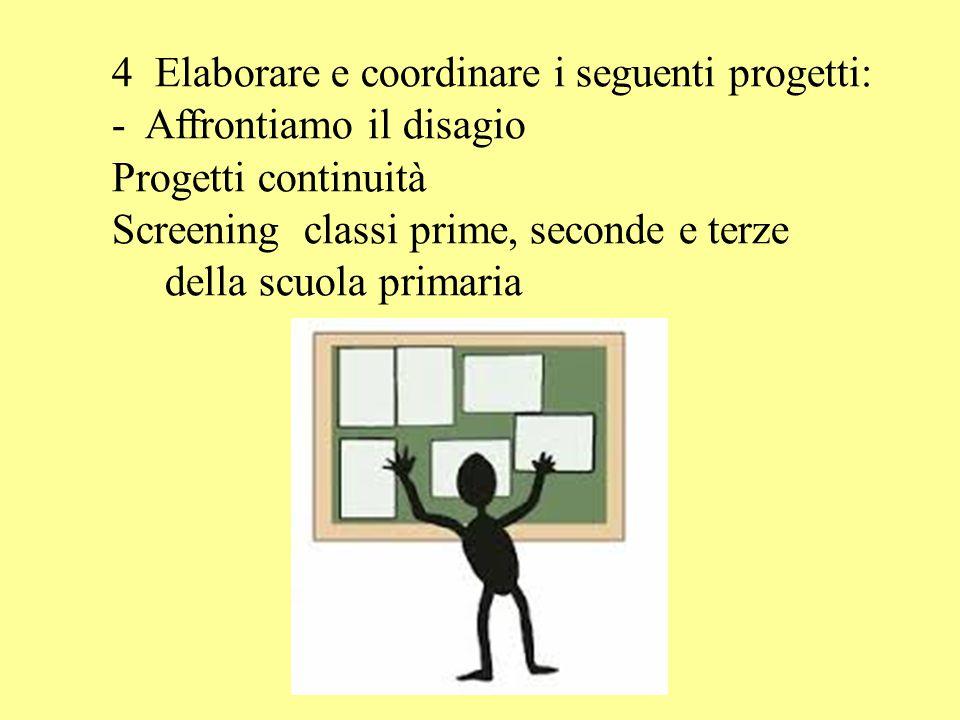 4 Elaborare e coordinare i seguenti progetti: - Affrontiamo il disagio Progetti continuità Screening classi prime, seconde e terze della scuola primaria