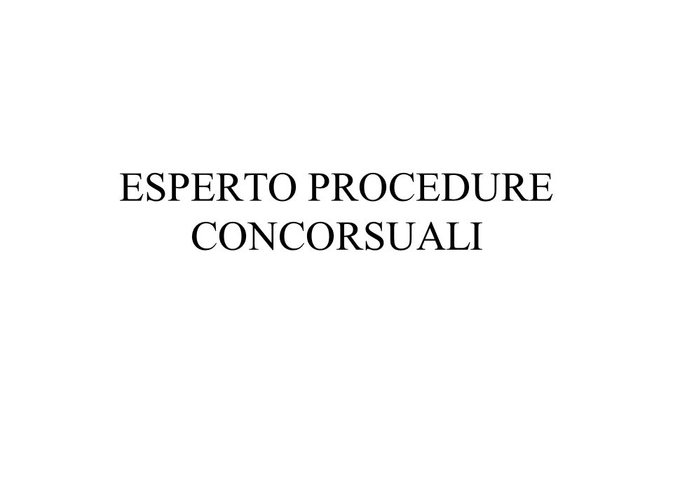 ESPERTO PROCEDURE CONCORSUALI