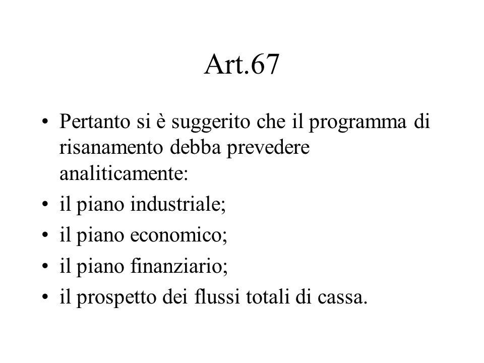 Art.67 Pertanto si è suggerito che il programma di risanamento debba prevedere analiticamente: il piano industriale;