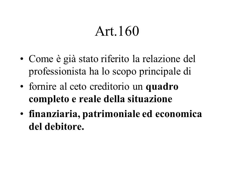 Art.160 Come è già stato riferito la relazione del professionista ha lo scopo principale di.