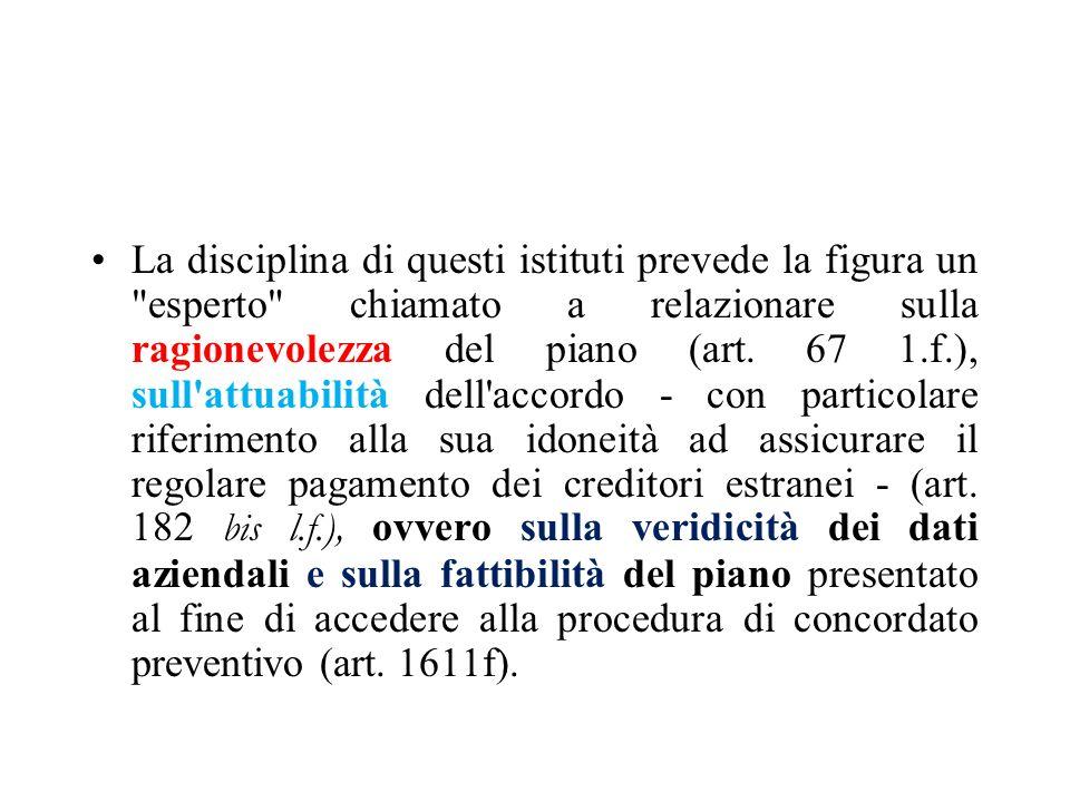 La disciplina di questi istituti prevede la figura un esperto chiamato a relazionare sulla ragionevolezza del piano (art.