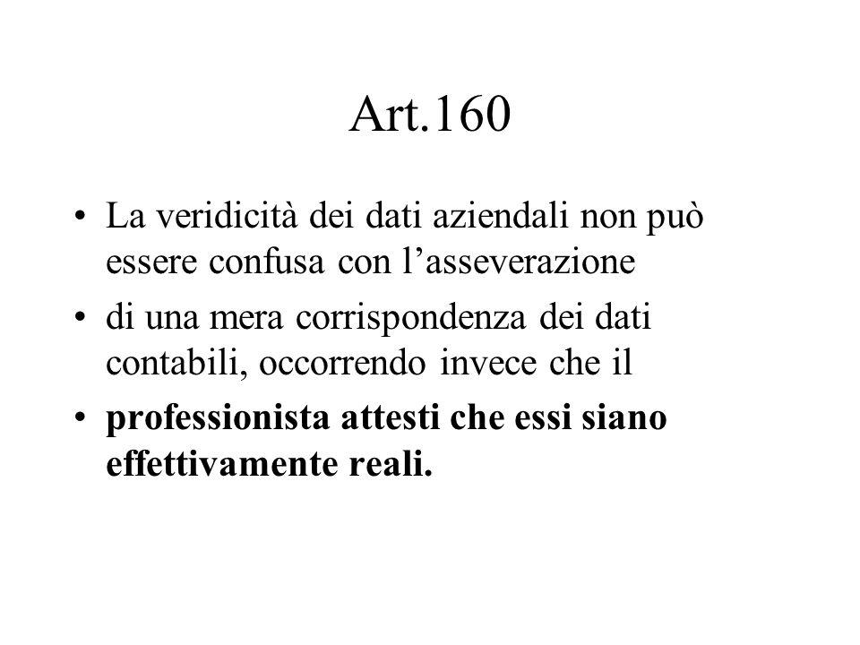 Art.160 La veridicità dei dati aziendali non può essere confusa con l'asseverazione.