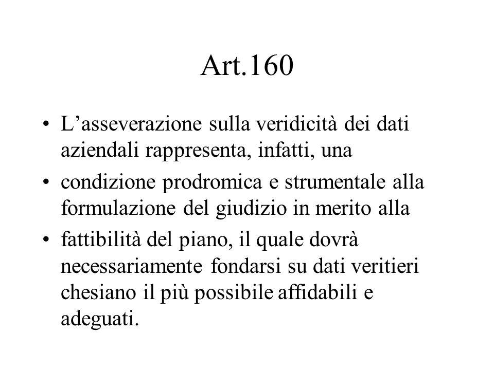 Art.160 L'asseverazione sulla veridicità dei dati aziendali rappresenta, infatti, una.