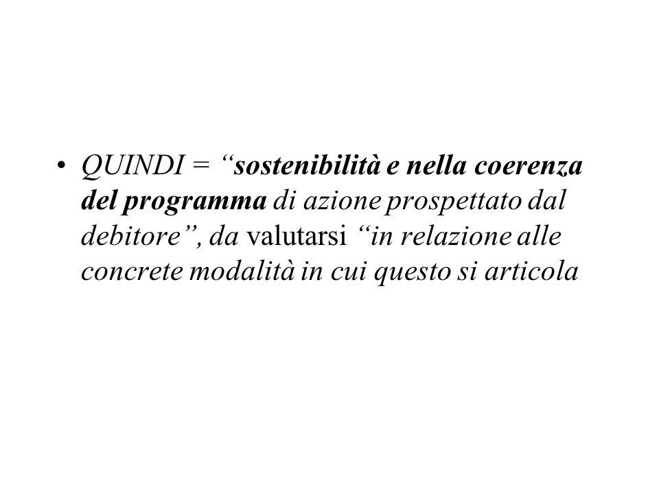 QUINDI = sostenibilità e nella coerenza del programma di azione prospettato dal debitore , da valutarsi in relazione alle concrete modalità in cui questo si articola