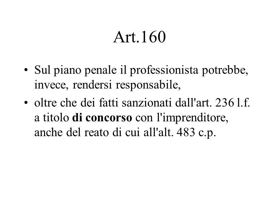 Art.160 Sul piano penale il professionista potrebbe, invece, rendersi responsabile,