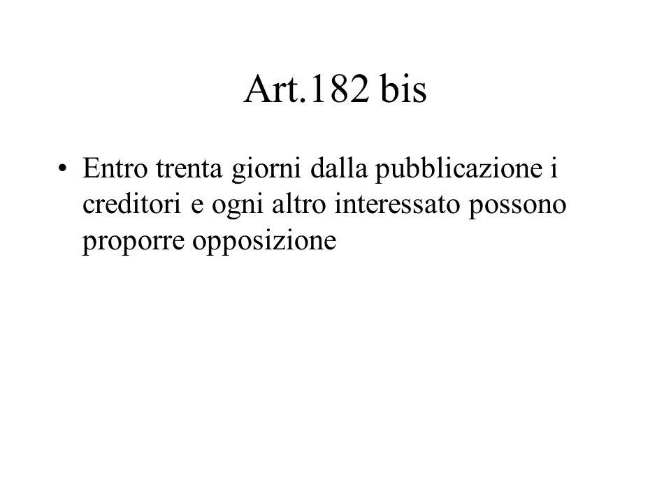 Art.182 bis Entro trenta giorni dalla pubblicazione i creditori e ogni altro interessato possono proporre opposizione.