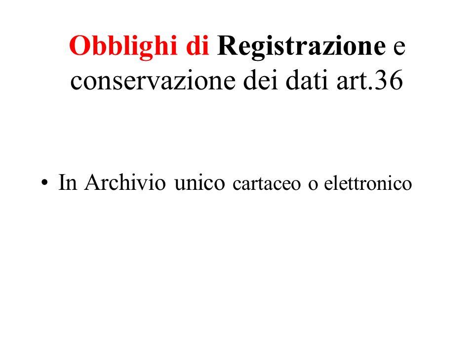 Obblighi di Registrazione e conservazione dei dati art.36