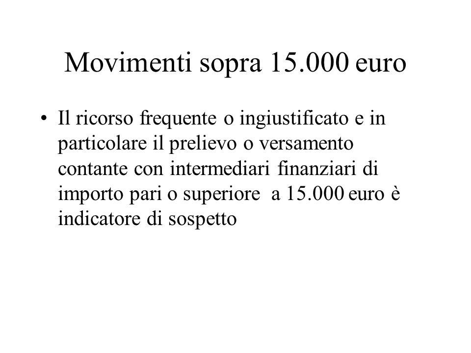 Movimenti sopra 15.000 euro