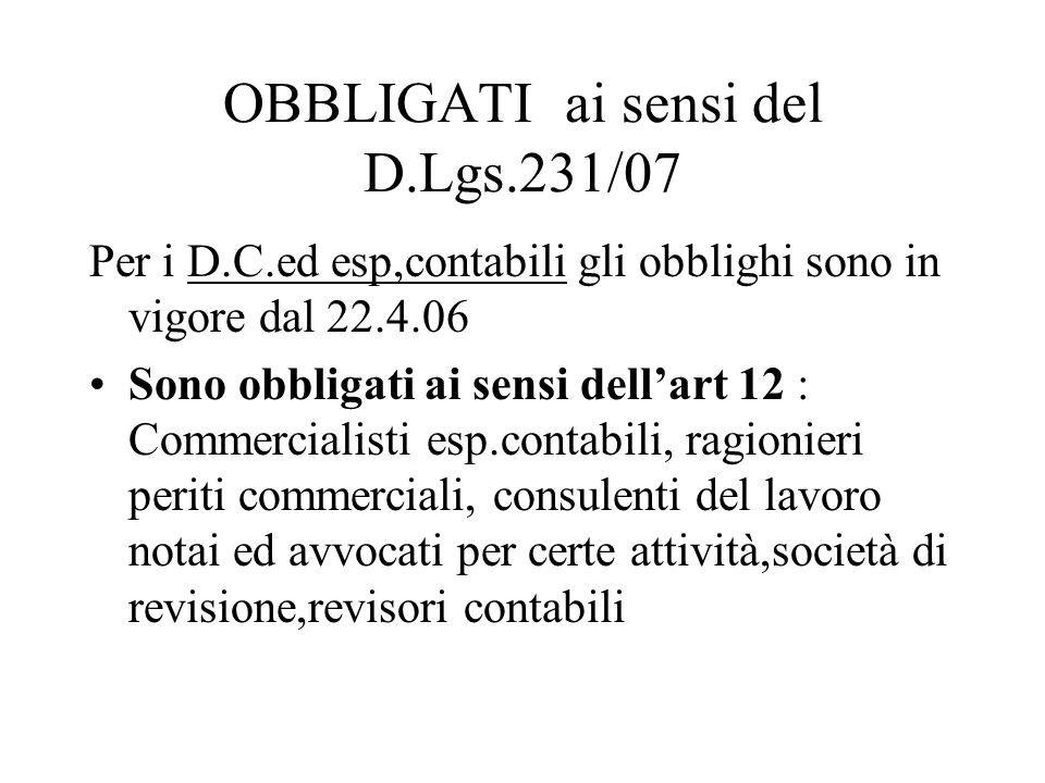 OBBLIGATI ai sensi del D.Lgs.231/07