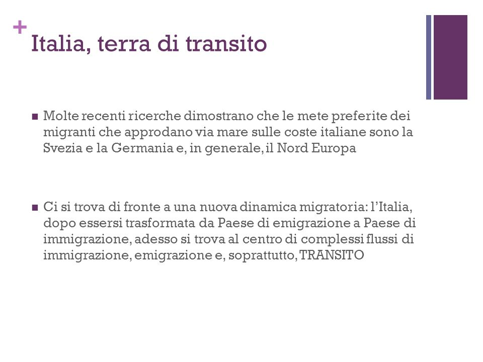 Italia, terra di transito