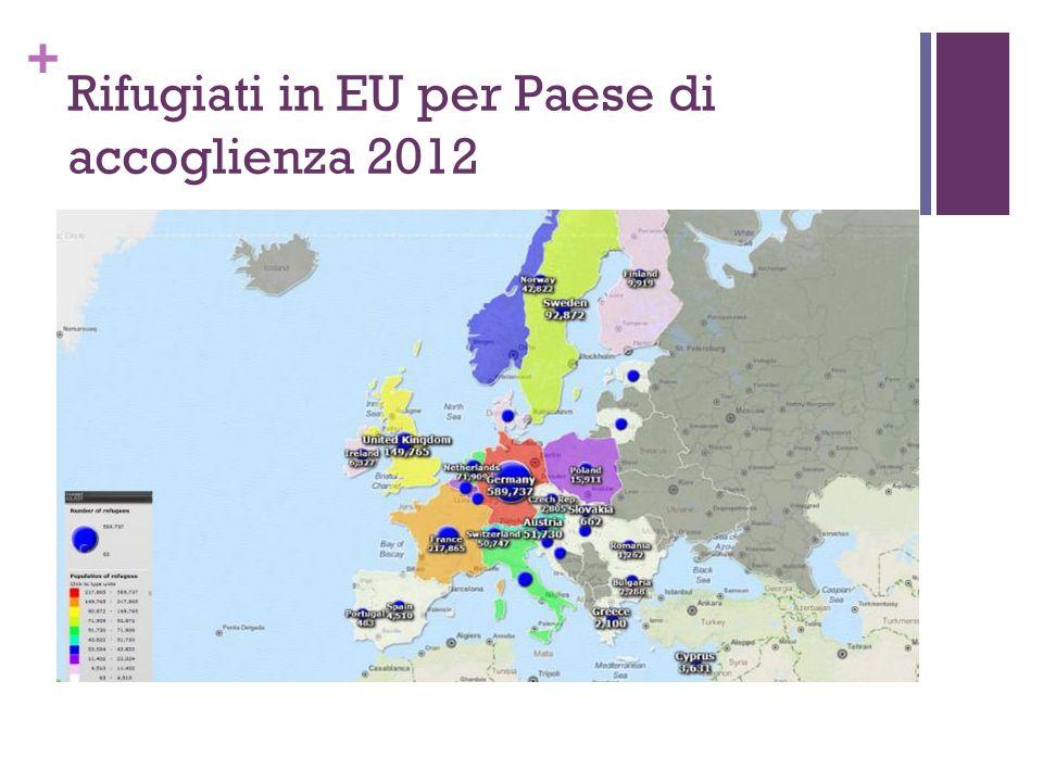 Rifugiati in EU per Paese di accoglienza 2012