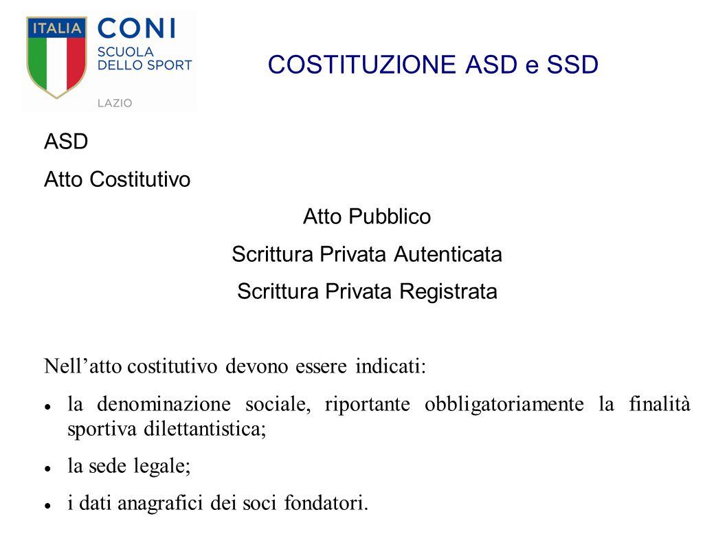 COSTITUZIONE ASD e SSD ASD Atto Costitutivo Atto Pubblico