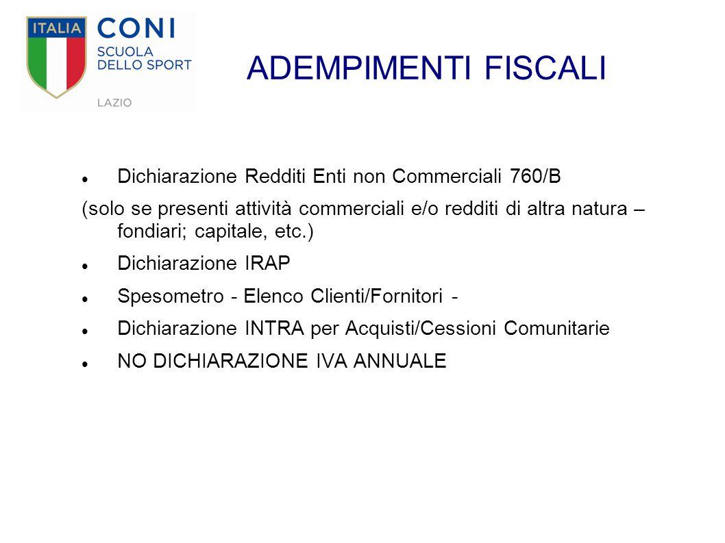 ADEMPIMENTI FISCALI Dichiarazione Redditi Enti non Commerciali 760/B