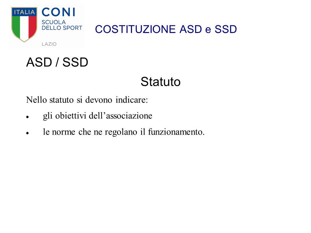 ASD / SSD Statuto COSTITUZIONE ASD e SSD