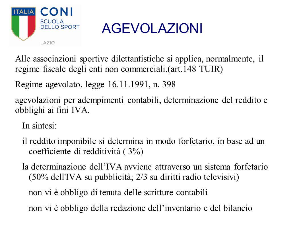 AGEVOLAZIONI Alle associazioni sportive dilettantistiche si applica, normalmente, il regime fiscale degli enti non commerciali.(art.148 TUIR)