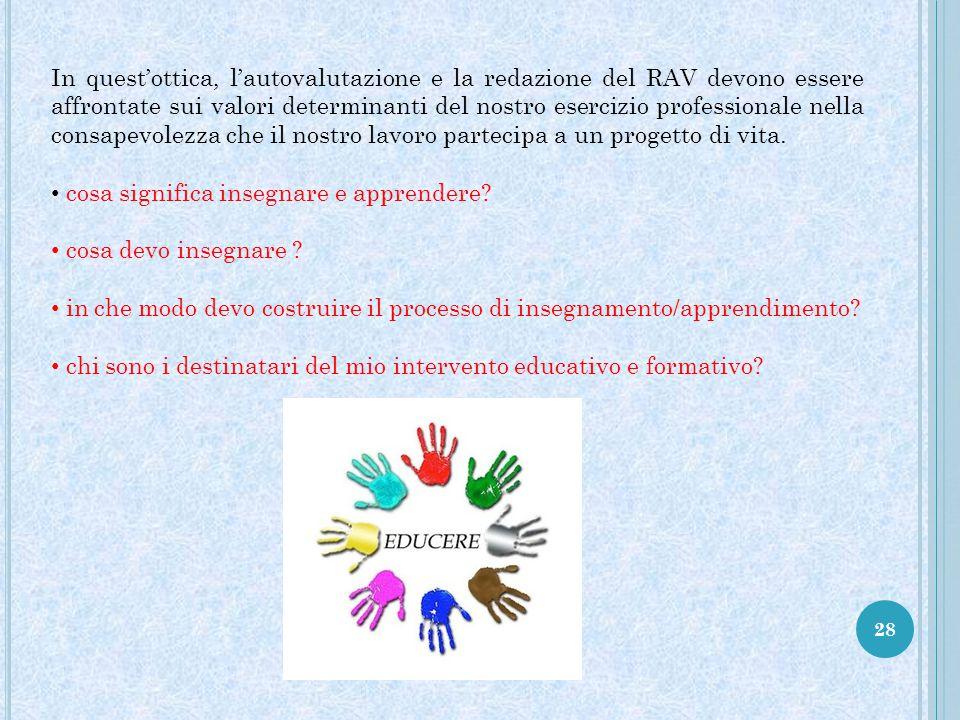 In quest'ottica, l'autovalutazione e la redazione del RAV devono essere affrontate sui valori determinanti del nostro esercizio professionale nella consapevolezza che il nostro lavoro partecipa a un progetto di vita.