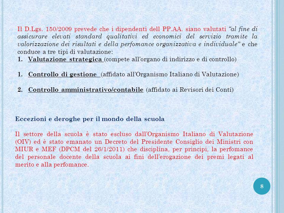 Il D. Lgs. 150/2009 prevede che i dipendenti dell PP. AA