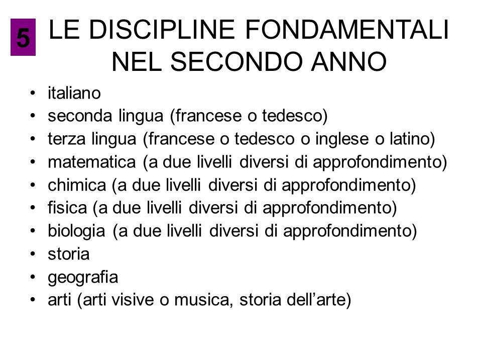 LE DISCIPLINE FONDAMENTALI NEL SECONDO ANNO