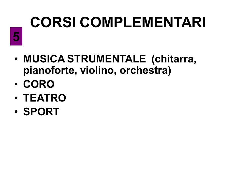 CORSI COMPLEMENTARI 5. MUSICA STRUMENTALE (chitarra, pianoforte, violino, orchestra) CORO. TEATRO.