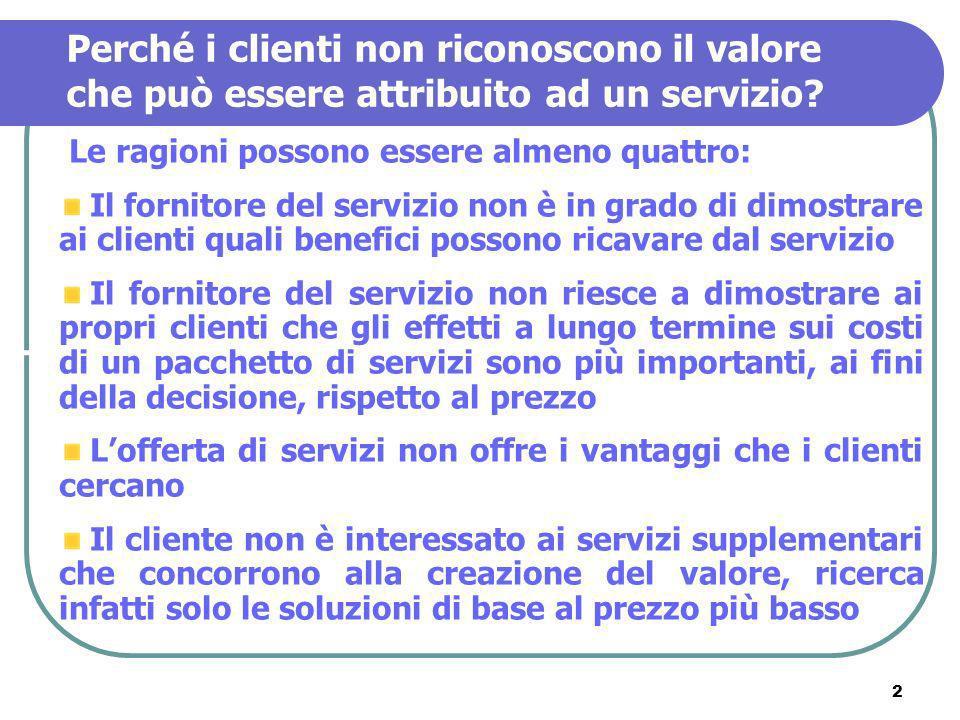 Perché i clienti non riconoscono il valore che può essere attribuito ad un servizio