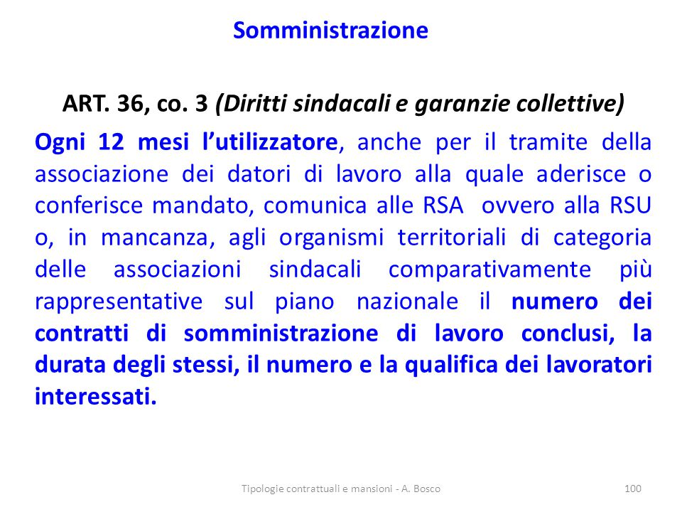 ART. 36, co. 3 (Diritti sindacali e garanzie collettive)
