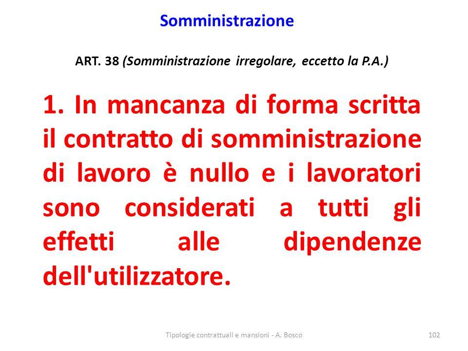 ART. 38 (Somministrazione irregolare, eccetto la P.A.)