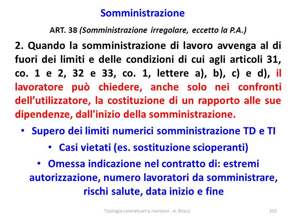 Supero dei limiti numerici somministrazione TD e TI
