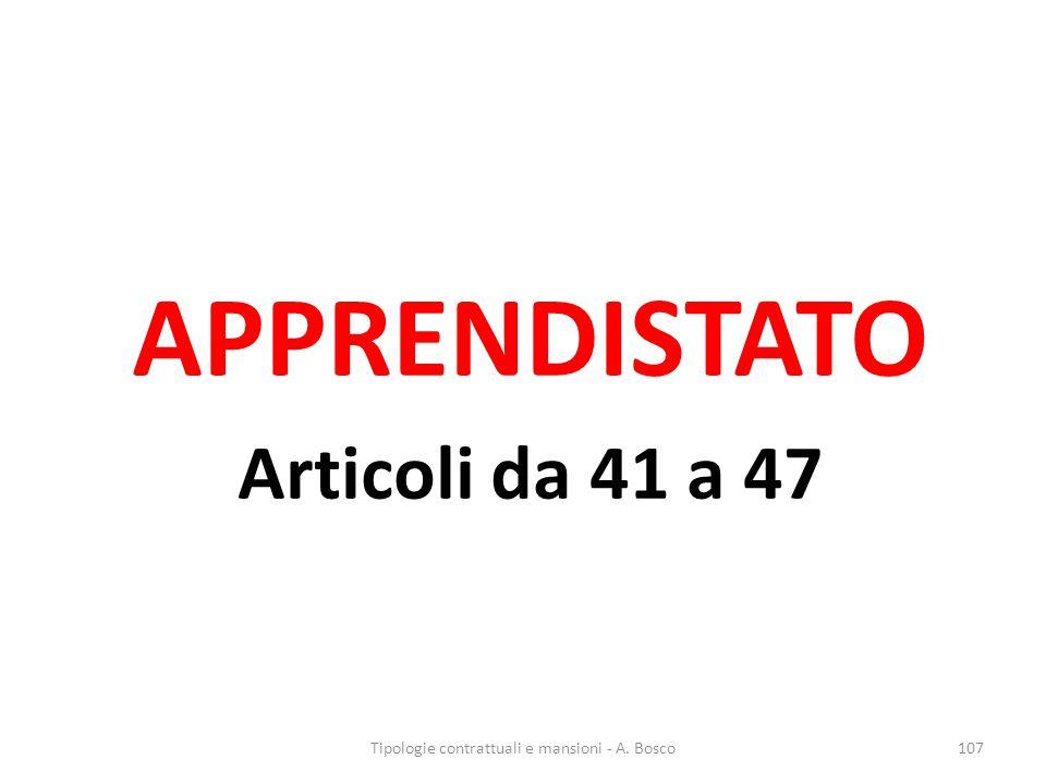 APPRENDISTATO Articoli da 41 a 47