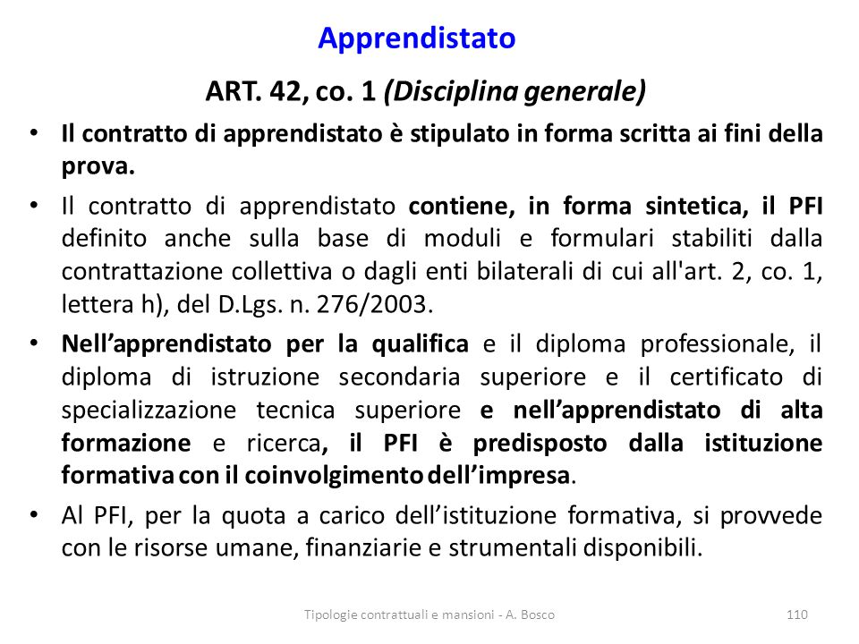 ART. 42, co. 1 (Disciplina generale)