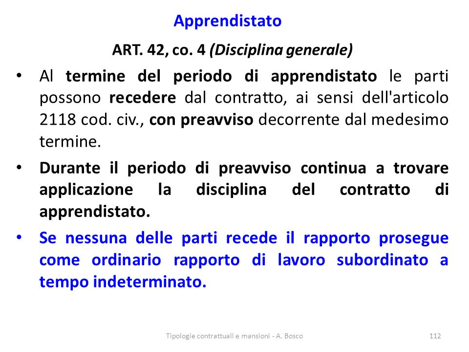 ART. 42, co. 4 (Disciplina generale)