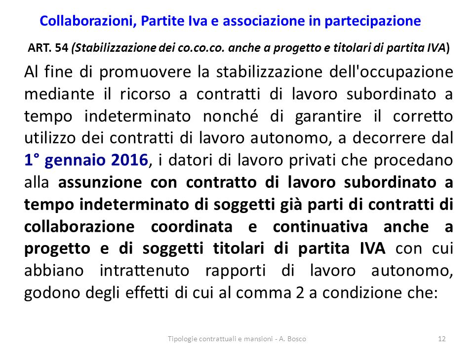 Collaborazioni, Partite Iva e associazione in partecipazione