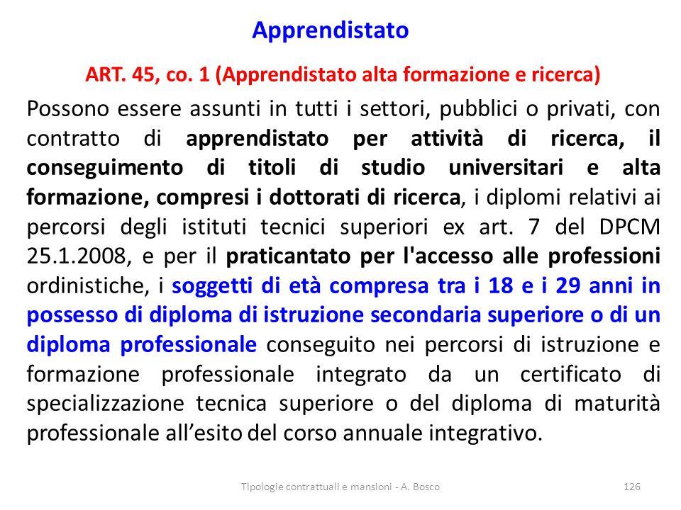 ART. 45, co. 1 (Apprendistato alta formazione e ricerca)