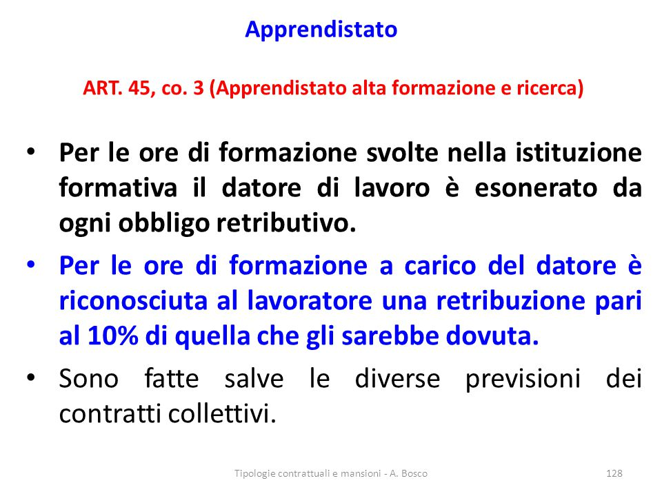 ART. 45, co. 3 (Apprendistato alta formazione e ricerca)