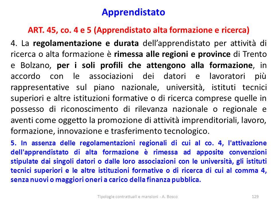ART. 45, co. 4 e 5 (Apprendistato alta formazione e ricerca)