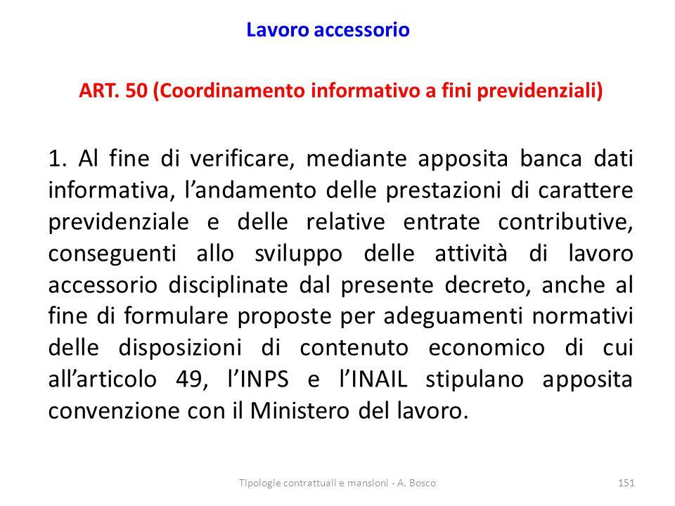 ART. 50 (Coordinamento informativo a fini previdenziali)