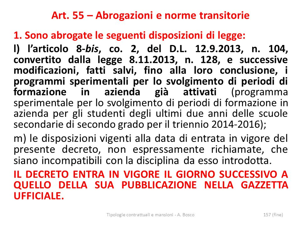 Art. 55 – Abrogazioni e norme transitorie