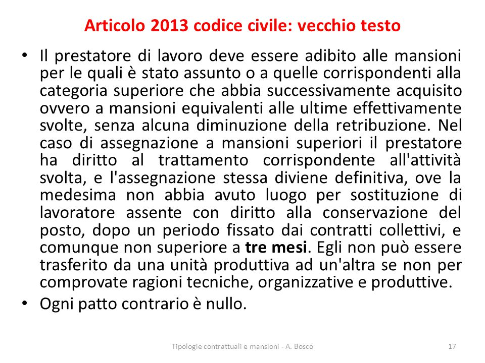 Articolo 2013 codice civile: vecchio testo