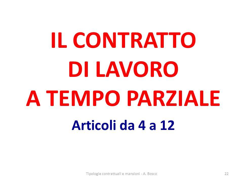 IL CONTRATTO DI LAVORO A TEMPO PARZIALE Articoli da 4 a 12
