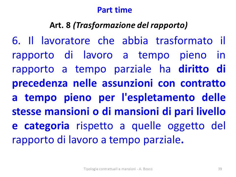 Art. 8 (Trasformazione del rapporto)