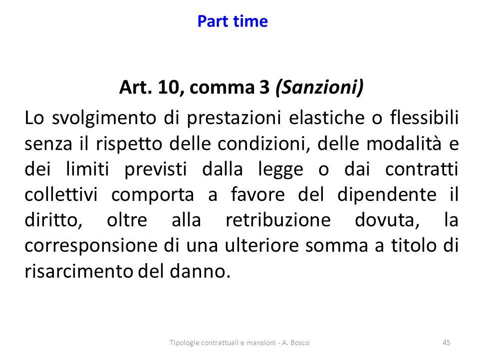 Tipologie contrattuali e mansioni - A. Bosco