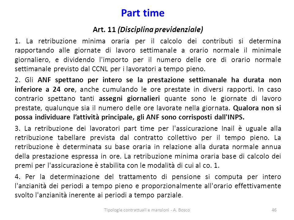 Art. 11 (Disciplina previdenziale)