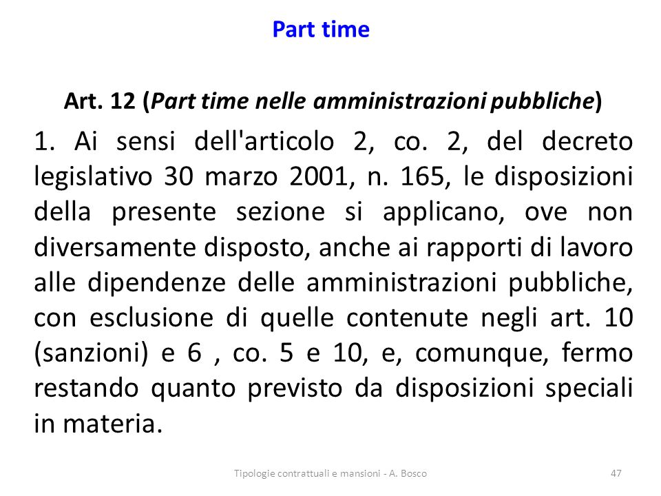 Art. 12 (Part time nelle amministrazioni pubbliche)