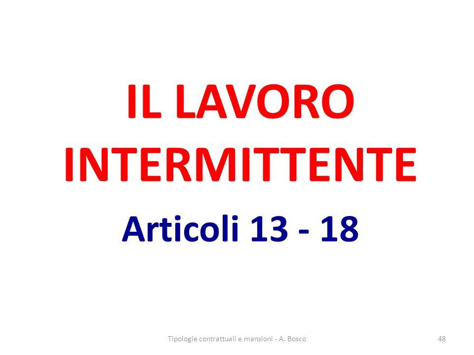 IL LAVORO INTERMITTENTE Articoli 13 - 18
