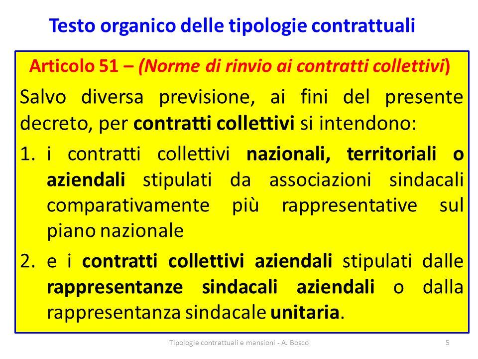 Testo organico delle tipologie contrattuali