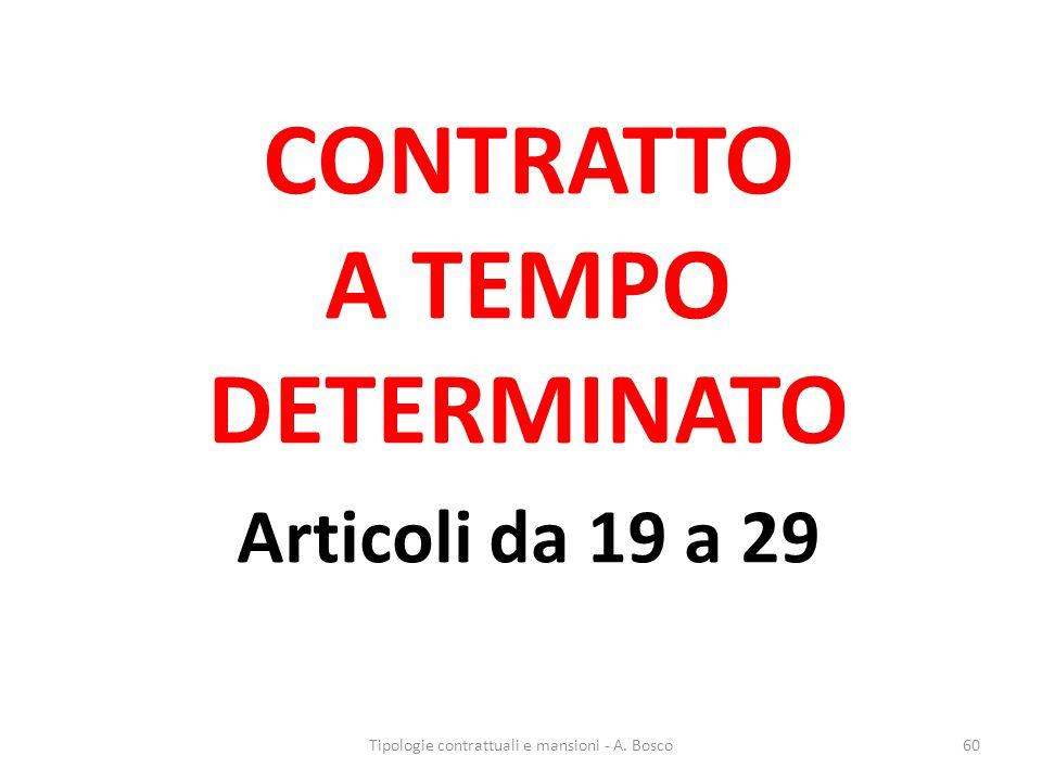 CONTRATTO A TEMPO DETERMINATO Articoli da 19 a 29