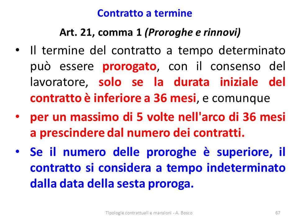 Art. 21, comma 1 (Proroghe e rinnovi)